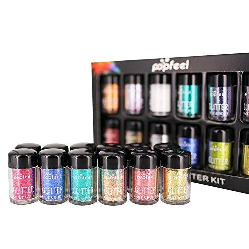Qkiss 12pc poudre de paillettes colorées paillettes, outil de maquillage étincelant pour la décoration des lèvres du visage