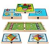 Sling Fast Shot PULB Game, Ganador DE Madera Foosball Y Chinos Juego Juego DE TABLEROS, Tablero DE Desktop 6 EN 1 Ludo Set Juego para niños