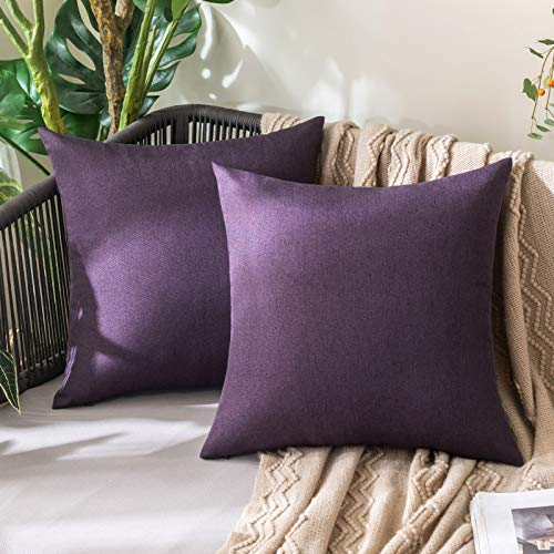 MIULEE Zewnętrzne wodoodporne poszewki na poduszki dekoracyjne wodoodporne krzesło ogrodowe poszewka na poduszkę na kanapę ogrodową dla zwierząt domowych sofa bawełna len dekoracja domu 20 x 20 cali 50 x 50 cm opakowanie 2 bakłażan fioletowy