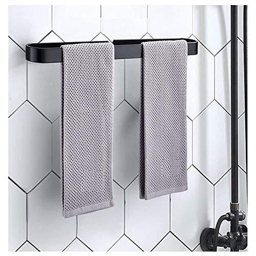 EEUK Soporte para toallas de mano de cocina, montaje en pared, anillo de toalla de baño, barra autoadhesiva para baño, cocina, aluminio, 30 cm, color negro