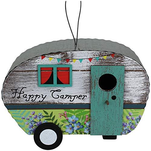 TW24 Vogelhaus Holz Wohnwagen mit Modellwahl Nistkasten Vogelfutterhaus Futterhaus Futterstelle für Vögel Vogelfutterstation (Happy Camper)