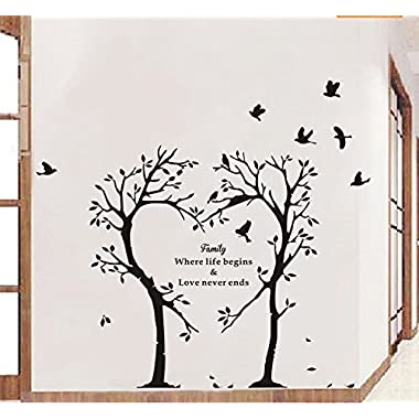 Boodecal Nature Series Heart Tree Quote Wall Decal Mural Sticker Decor for Nursery Bedroom Living Room 39*35 Inches (39*35 Inches)