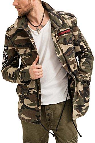 trueprodigy Casual Herren Marken Pilotenjacke mit Badges Herrenjacke Cool Stylisch Vintage sportlich Slim Fit Jacke Männer, Farben:Khaki, Größe:S