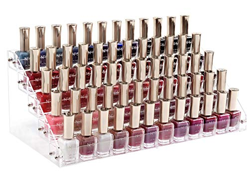 HBlife Clear Nail Polish Organizer 5 Tier Acrylic Display Rack Holds Up to 60 Bottles