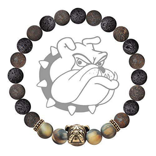 Karseer Anxiety Bulldog Mascot Bracelet Natural Bronzite and Lava Rock Aromatherapy Essential Oil Diffuser Bracelet Healing Stone Yoga Beads Bracelet Friendship Gift for Stress Relief Relax, Unisex 7'