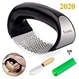 Vantic Garlic Press Rocker - Stainless Steel Garlic Mincer Crusher and Peeler (2020)