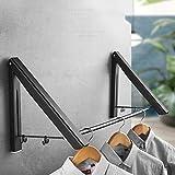 WWJJLL Wand- Wäschetrockner, Faltbare Badezimmer, Invisible Wäschetrockner, Balkon Werkzeug, Rutschen Haken für Wäscheraum, WC, Badezimmer,Schwarz