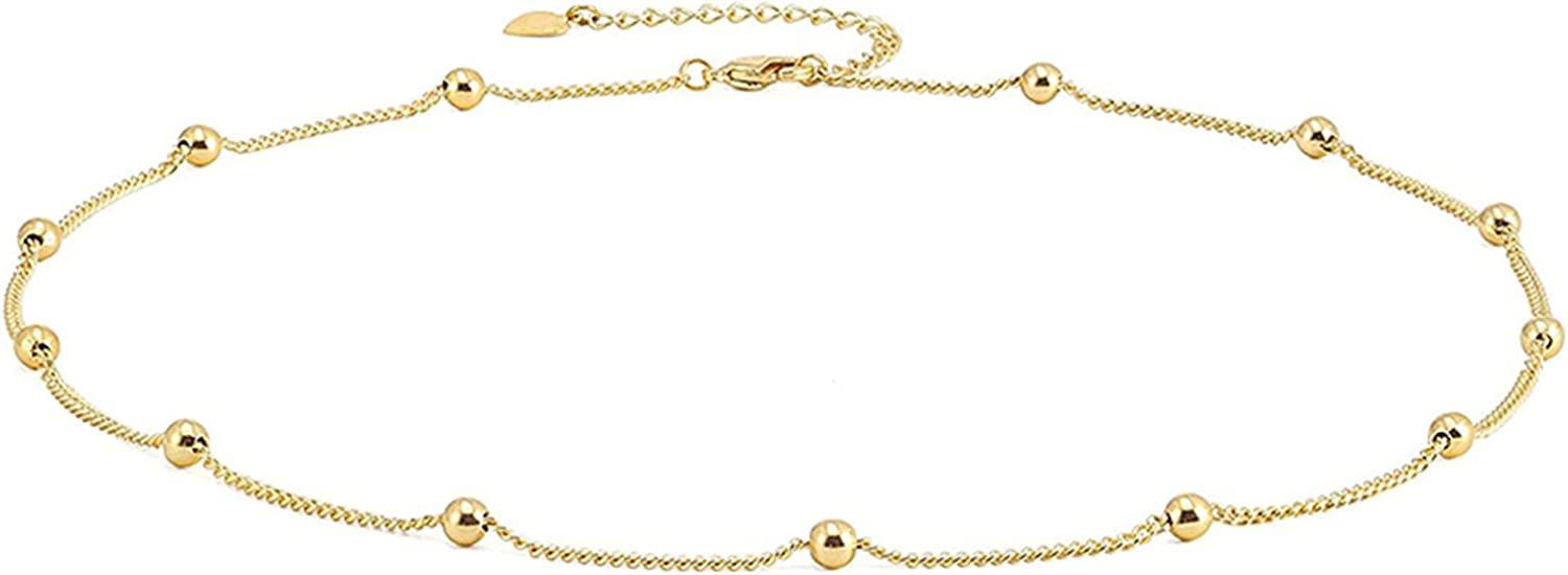 14K GOLD Fashion Gold Plated Paperclip Chain Choker Dainty Party Gift Jewelry for Women Satellite Chain Lava Bead Pendant Necklace(Color : GOLD ))