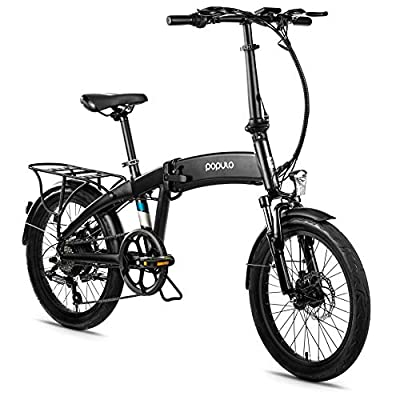 Populo 20'' Folding Electric Bike for Adults, 250W 36V Electric Bicycle with Removable Battery, Lightweight Aluminum Ebike with Suspension Fork, Lights & Rear Rack Included, USB Charge.