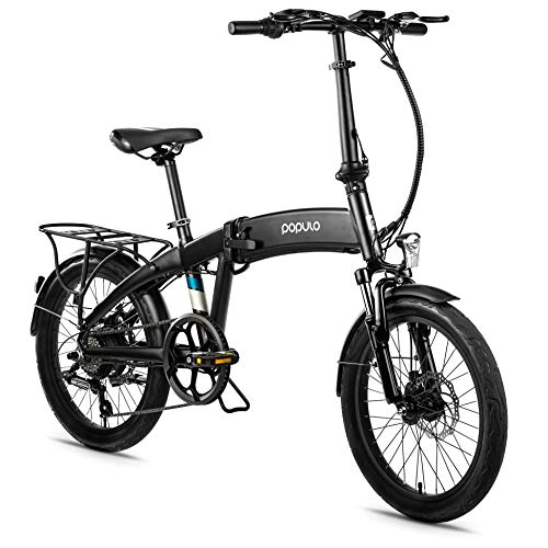 Populo 20'' Folding Electric Bike for Adults, Curve 250W 36V E-Bike, Lightweight Aluminum Ebike with Suspension Fork, Lights & Rear Rack Included, USB Charge.