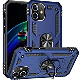 Fetrim Custodia per iPhone 12, Cover PC TPU Cassa Shell Supporto di Anello Rotante Case per Apple iPhone 12/iPhone 12 PRO Blu Navy
