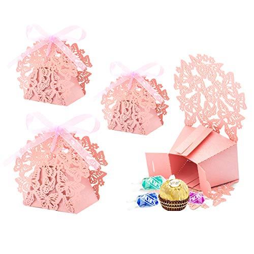 30x Caja Cajitas Con Cinta para Caramelos Regalo Bombones Recuerdos BautizosBodas Bomuniones con Binta para Boda Bumpleaños Fiesta Bebé Bautizos Comunión Detalle (Rosa)