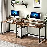 TIYASE Escritorio doble para computadora de 78,7 pulgadas con estantes de almacenamiento, escritorio extra largo para dos personas con aparador, escritorio doble para escritorio de oficina en el hogar y escritorio con mesa inclinable y soporte para monitor (rústico)