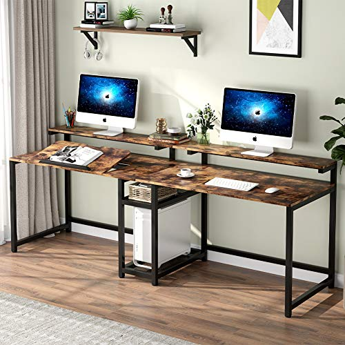 TIYASE 78.7 inch Double Computer Desk with Storage Shelves, Extra Long Two Person Desk with Hutch, Double Workstation Home Office Desk Writing Table with Tiltable Tabletop and Monitor Stand(Rustic)