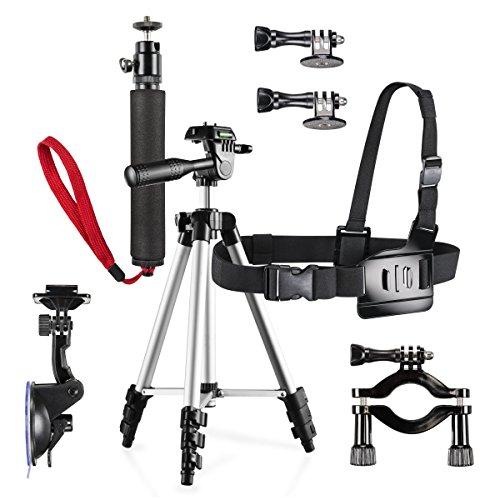 Mantona Family Set Pro für GoPro inkl. Handstativ/Fahrradbefestigung/Kamerastativ/Saugnapf/Brustgurt