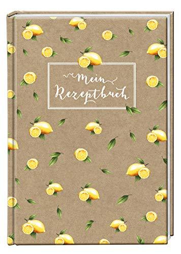 Mein Rezeptbuch Kochbuch, DIN A4 Hardcover zum selberschreiben, Zitroene braun Kraftpapier Look, liniert, Inhaltsverzeichnis und Seitennummerierung