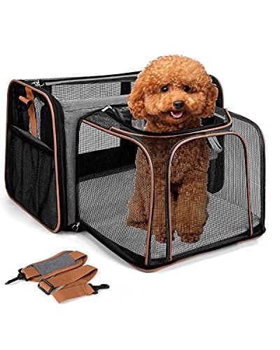 Lekesky Erweiterbar Katzentransportbox Hundetragetasche Katzen Transportboxen Faltbare Hunde Katzen Transporttasche mit Schultergurt, Grau
