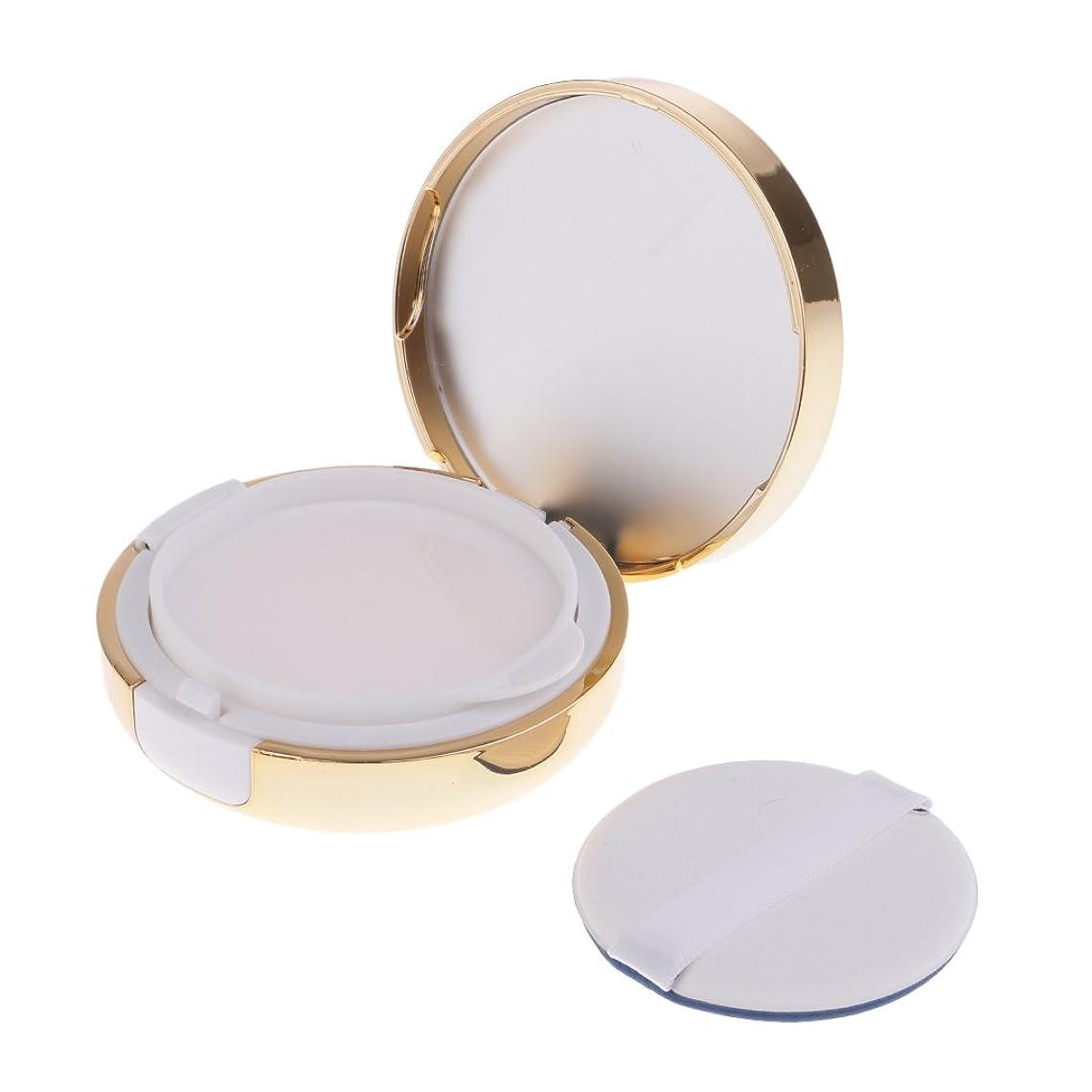 Perfk パウダーコンテナ ファンデーションケース エアクッション パフ BBクリーム 詰替え 化粧品 DIY ポータブル 密閉式ふた メイクアップ 2色選べる - ゴールド