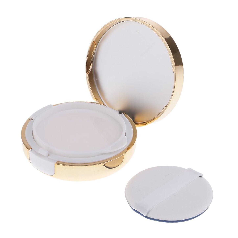 ベル縫い目割り当てますPerfk パウダーコンテナ ファンデーションケース エアクッション パフ BBクリーム 詰替え 化粧品 DIY ポータブル 密閉式ふた メイクアップ 2色選べる - ゴールド