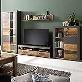 Wohnwand Indy Set 4 teilig Holz graphit grau Matera Wohnzimmer Anbauwand mit LED