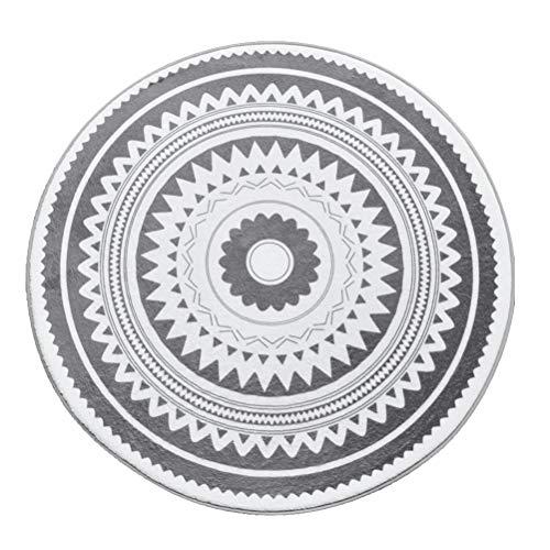 VOSAREA Alfombras Redondas nórdicas para el Piso Alfombrillas de Suelo de Secado rápido Antideslizantes y Resistentes al Desgaste para la Sala de baño (Círculo de patrón Triangular Gris Oscuro)