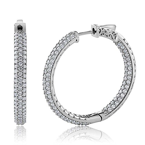 Gem Stone King 925 Sterling Silver 3 Row Pave Inside-Out Cubic Zirconia CZ Ladies Women Hoop Earrings (2.00 Cttw, 1.5 Inch = 35X35MM)