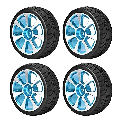 Wosune Rueda RC, Rueda de Coche RC Repuesto de llanta de aleación de Aluminio para Tarjeta RC para la mayoría de Las Escalas 1:10 en Coches de Carretera(Blue, Flat)