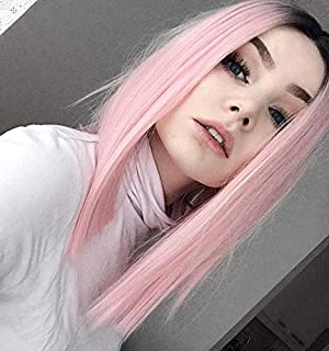 MISSWIG Ombre Pink Wigs for Women Short Straight Synthetic Hair Middle Part Heat Resistance 15 Inches 240 grams with Wig Cap