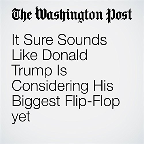 It Sure Sounds Like Donald Trump Is Considering His Biggest Flip-Flop yet                    By:                                                                                                                                 Aaron Blake                               Narrated by:                                                                                                                                 Sam Scholl                      Length: 4 mins     Not rated yet     Overall 0.0