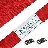 Namvo 550 Paracord Mil Spec Tipo III Cable de paracaídas de 7 Cuerdas Longitud 100 pies / 30 Metros -Gran Rojo