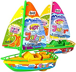 JVSISM 2PCS Electric Motor Toy Boat Baby Bathing Boat Playing Speed Boat Sailing Model Boat