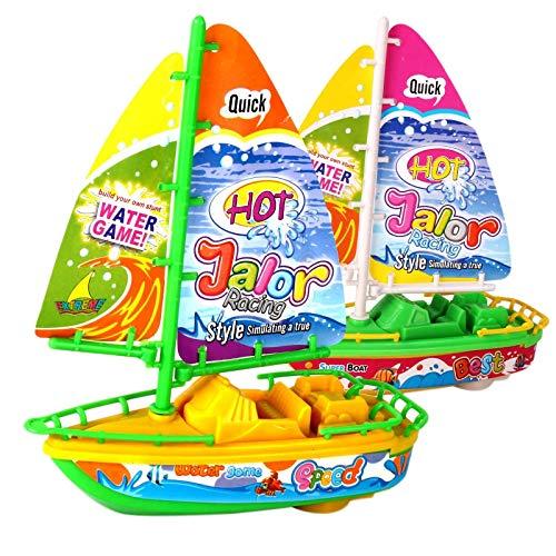 Domilay Barco de Juguete con Motor EléCtrico de 2 Piezas Bote de Ba?O para BebéS Jugando Lancha RáPida Modelo de Barco de Vela