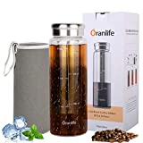 Cold Brew Coffee Maker, Portable Iced Coffee Maker with Airtight Lid and Easy To Clean Reusable Stainless Steel Mesh Filter for Iced Tea Maker 3cup 26oz