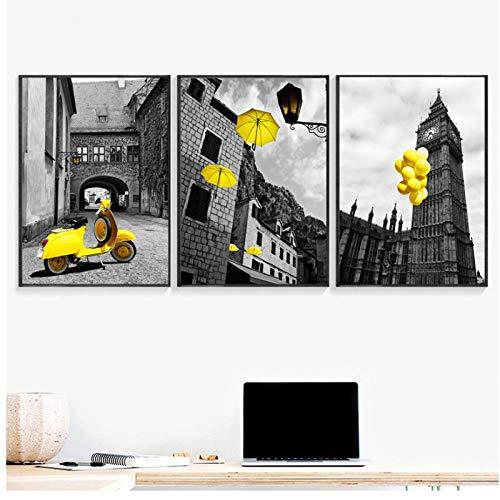 Shutiaqun poster met witte opdruk in zwart en geel voor motorfiets luchtballon paraplu canvas kunst schilderij voor woonkamer afbeelding wand 50 x 70 cm * 3 zonder lijst
