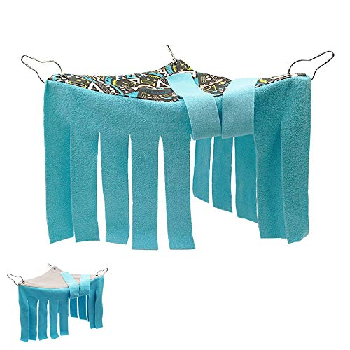 RIOUSSI Guinea Pig Hideout with Reversible Side and Two Curtains. Guinea Pig Hideaway Corner Peekaboo Toys Cage Accessories, Geo/Gray+Blue