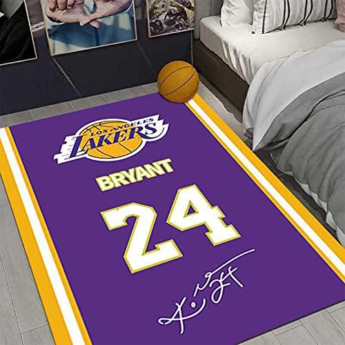 GPUI Kobe Rugs Laker 24 # Alfombra de baloncesto, alfombra de baloncesto, sala de estar, sofá, mesa de café, dormitorio, mesita de noche, 120 x 200 cm