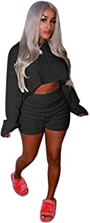 Women's 2 Pieces Outfits Knitted Pullover Sweaters Suit Crop Tops Casual Shorts Party Clubwear Tracksuit Jumpsuits Set