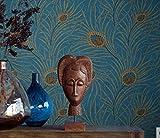 Meaosy Asie Du Sud-Est Non-Tissé Style Papier Peint Bleu Bleu Canard Papier Peint En Plumes De Queue De Phoenix Tv Mur À L'Arrière-Plan Salon Chambre À Coucher