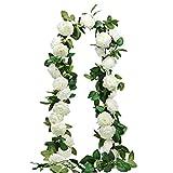 SHACOS 3 Stück Pfingstrose Künstlich Girlande Weiß Rosengirlande Blumengirlande Künstlich Lang 600 cm Ideal für Hochzeit Garten Wände Dekor usw.