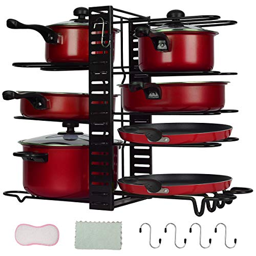 Pan Rack Organizers Pot Rack Duerer 8 Tiers Adjustable Height and Position Pots Pans Organizer with 3 DIY Methods Pot Holder Rack Fit for Kitchen Counter and Cabinet Lid Organizer