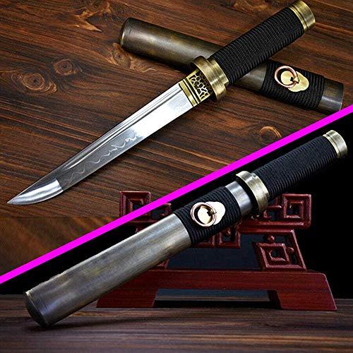 VARWANEO High Quallty Copper Sheath Japanese Samurai Dagger Sword Fighting Short Dao Tanto Katana Full Tang T10Steel Clay Tempered Blade Sharp Outdoors/Hunting Knife