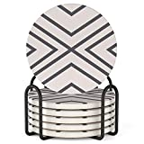 LIFVER 6 Piece Absorbent Coaster Set with...