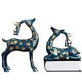 maniquíes Escultura de pared animal, 1 par de joyas accesorios for el hogar gabinete del vino del estilo del arte escandinavo columnata regalo carcasa del televisor Sika ganado 41x28x10cm escultura de