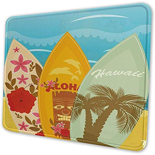 Gaming Mouse Pad Hawaiian Beach Surfbretter Vintage dekorative Mousepad Matte Gummi Basis Home Decor für Büro/Computer/Laptop 24X20CM