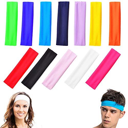 Headband, Fascia da 12 Pezzi in Cotone Elasticizzato Sport Yoga, Capelli Sport Fascia, Fasce in Cotone Yoga, Fascia Capelli per Capelli Colore Misto Adatto per Adolescenti, Adulti(12 Colori)