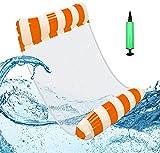 Hamaca Flotante Piscina - Caland Piscina Colchón Hinchable con Almohada Cozy, Versátil Flotador de Verano Colchonetas Inflable Hamaca de Agua Pool Lounge Float para Adultos y Niños (Naranja)