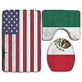 GGdjst 3 Piezas Juego de Alfombra de Baño Set Non Slip Water Absorbent Bathroom Carpet U-Shaped Contour Rug + Lid Toilet Cover + Bath Rug American USA Mexico Flag