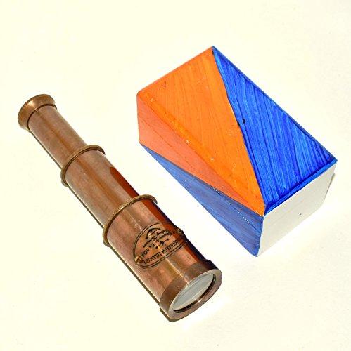 "Eve.store 6"" SOLID BRASS TELESCOPE – Handmade Paint Box - PIRATE SPYGLASS.QA554ED"
