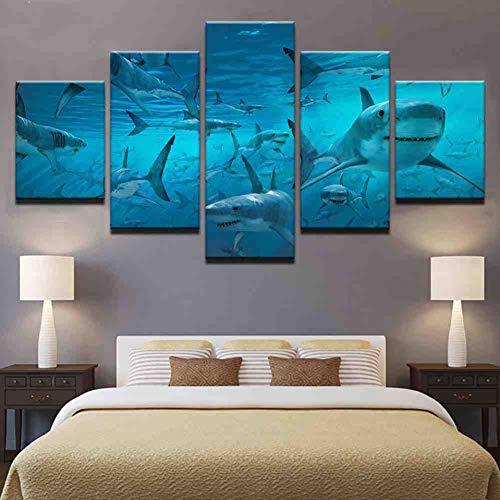 GIAOGE Cartel de la Lona Arte de la Pared Impresiones modulares Imágenes 5 Piezas Azul Deep Sea Shark Swarm Paintings para la Sala de Estar Decoración del hogar Marco