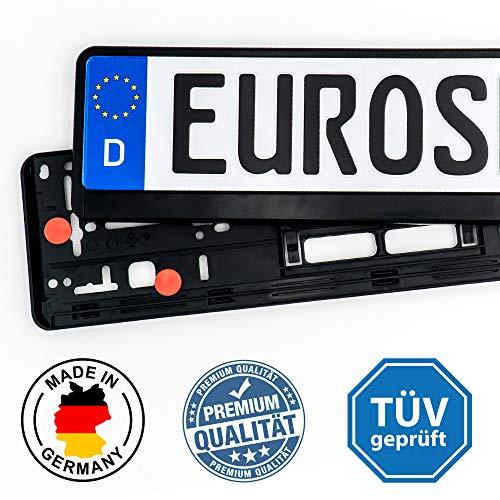 ./ Euroshire Kennzeichenhalter-Set, 2 Stück, Schwarz, Inkl. Vibrationsdämpfer und Lackschutz, Ohne Werbung, Made in Germany